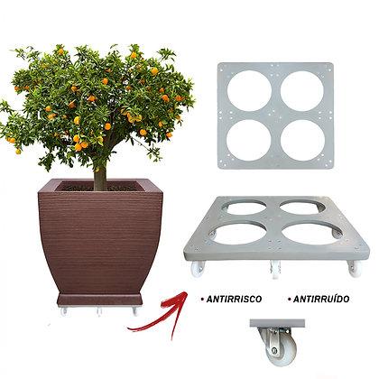 Suporte Quadrado Aluminio 60x60 - Rodas Gel/Silicone; Ref. SQA60