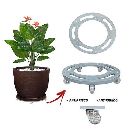 Suporte Redondo Aluminio 40 cm - Rodas Gel/Silicone; Ref. SRA40