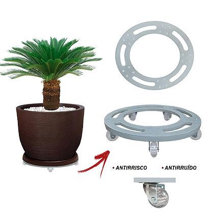 Suporte Redondo Aluminio 45 cm - Rodas Gel/Silicone; Ref. SRA45