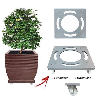Suporte Quadrado Aluminio 50x50 - Rodas Gel/Silicone; Ref. SQA50
