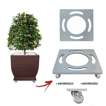 Suporte Quadrado Aluminio 40x40 - Rodas Gel/Silicone; Ref. SQA40