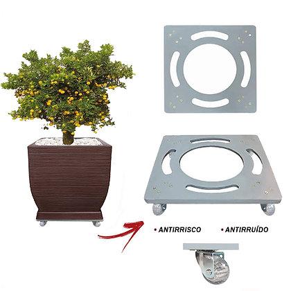 Suporte Quadrado Aluminio 45x45 - Rodas Gel/Silicone; Ref. SQA45