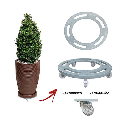 Suporte Redondo Aluminio 30 Cm - Rodas Gel/Silicone Ref. SRA30