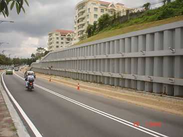 Sheet piles used for road widening