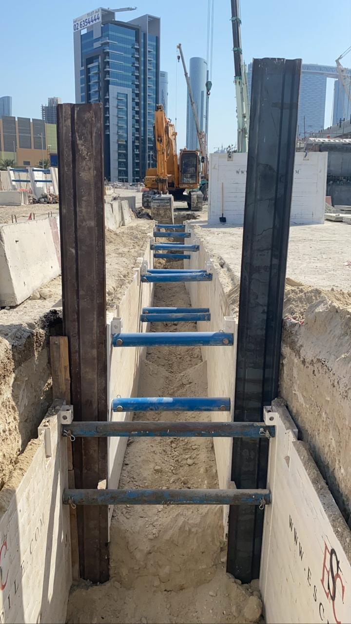 trench box installed on site