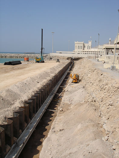 Installed sheet pile wall with tie rod