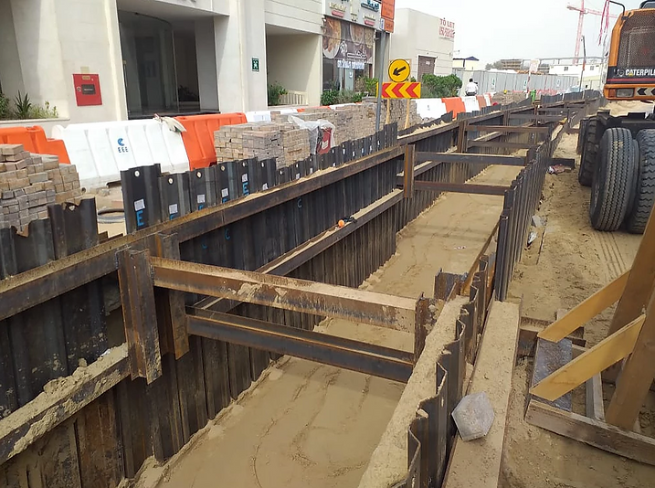 Trench sheets in a construction project