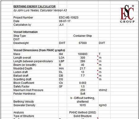 Berthing Energy Calculator