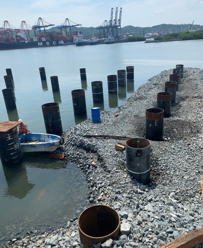 Tubular piles installed on site