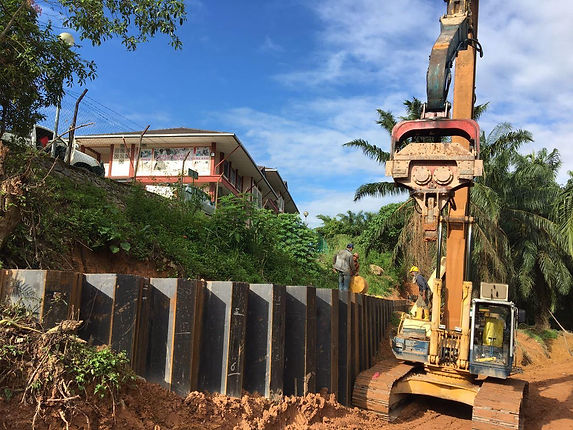 Sheet piles installation on site