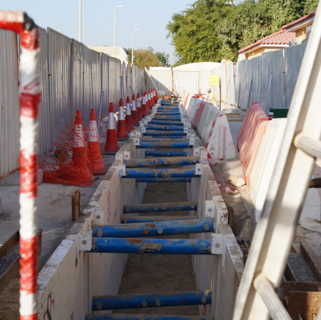 Trench boxes installed on site