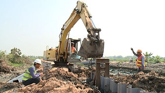 synthetic sheet pile installation