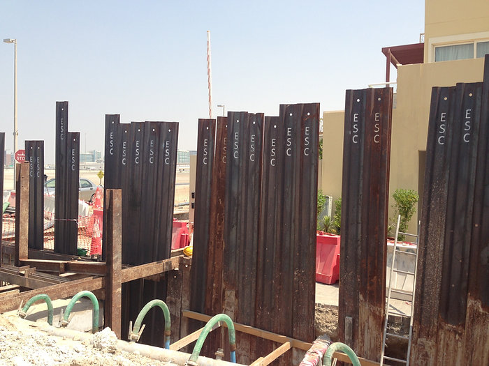 Sheet piles used in a construction project