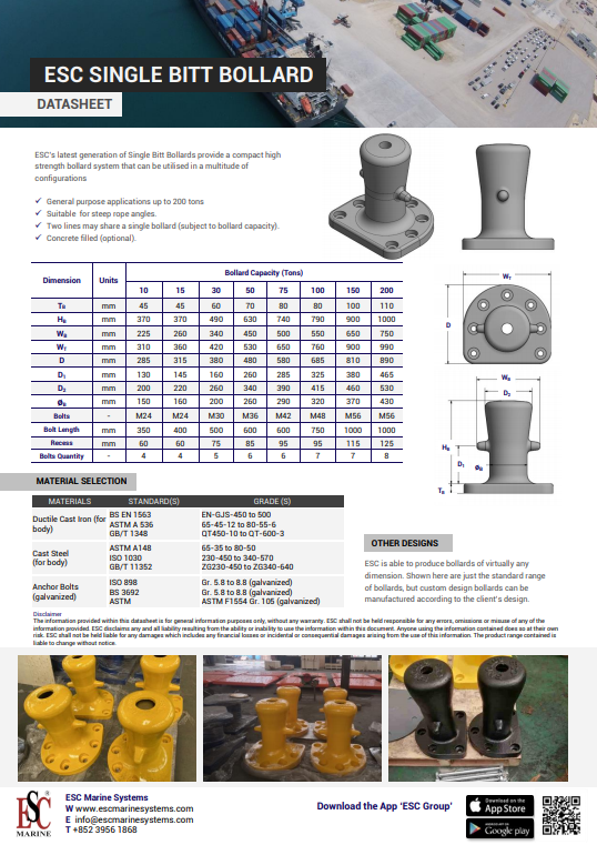 Single Bitt Bollard Datasheet