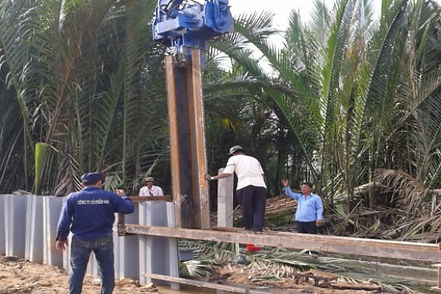 Vinyl sheet piles Cutting Mandrel Installation