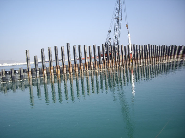 Sheet piles used in marine construction project