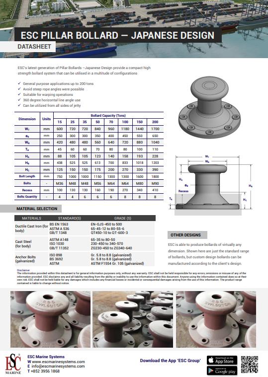 Pillar Japanese Bollard Datasheet