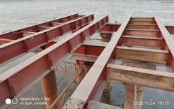 Bridge girder installation on site