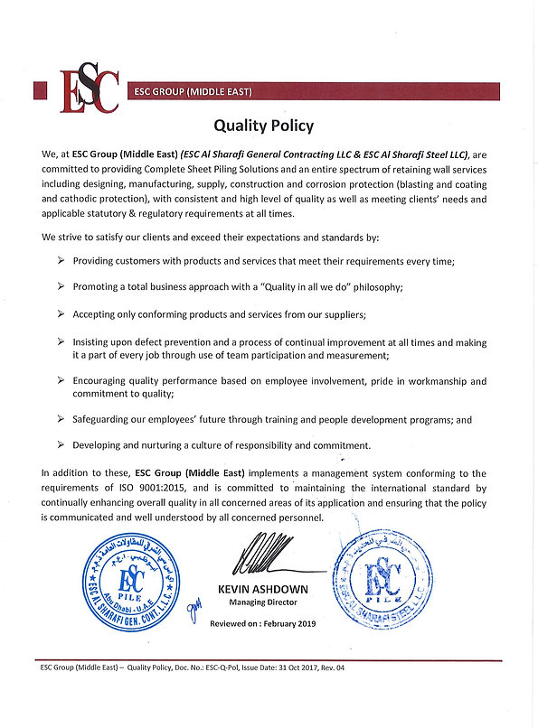 ESC Group Quality Policy