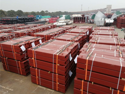 bridge girder stacked for delivery