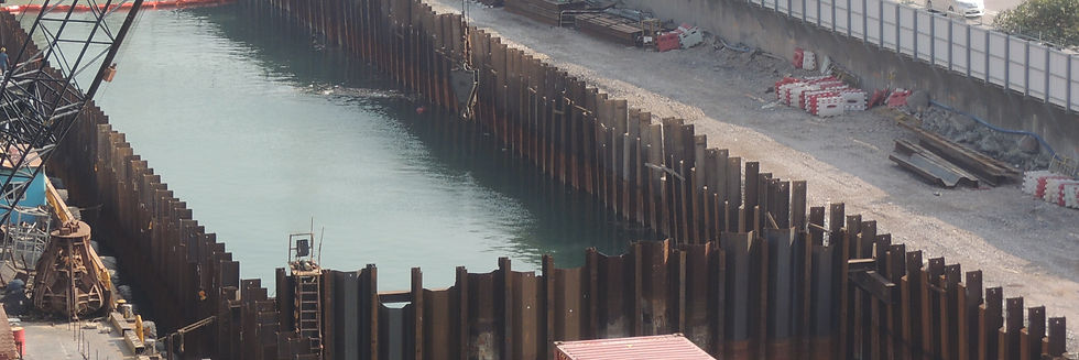 Combination of H piles and steel sheet piles