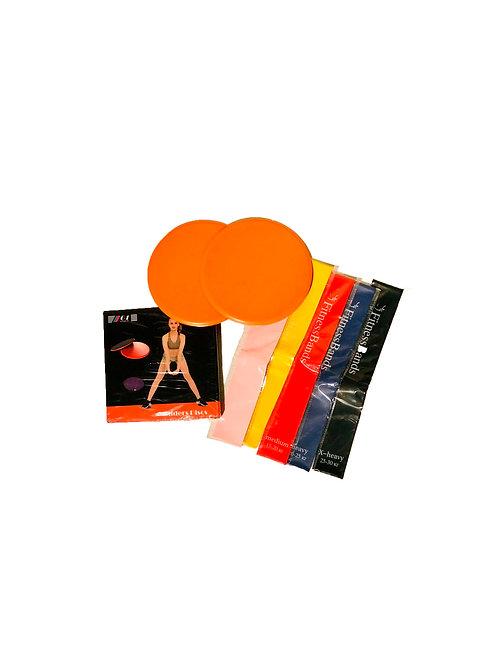 Набор домашних тренажеров - резинки+диски для глайдинга