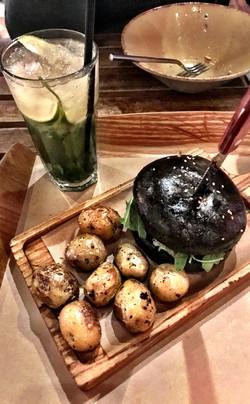 Black Bun Burger and Potatoes