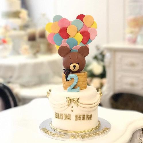 心型熱氣球小熊蛋糕