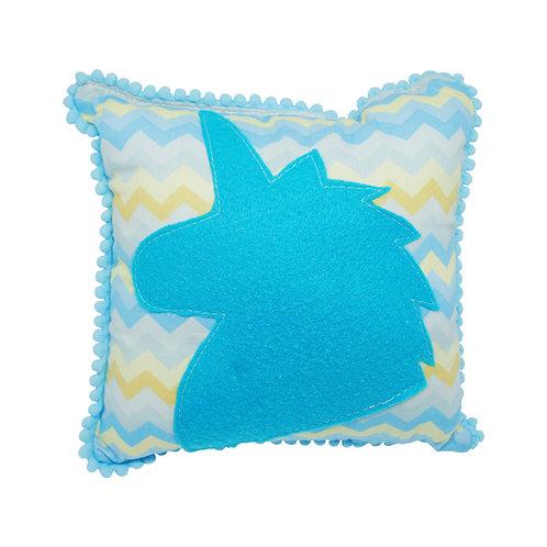 Mini almofada Unicórnio (Chevron amarelo+azul)