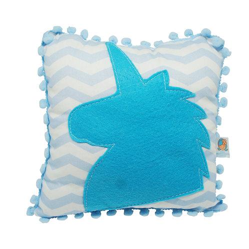Mini almofada Unicórnio (Chevron azul+azul)