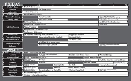 Anthrocon 2011 Pocket Program Grids