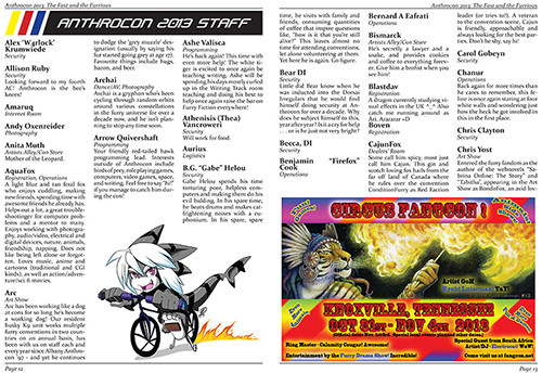 Anthrocon 2013 Conbook Staff Bios