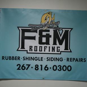 custom banner for F&M Roofing