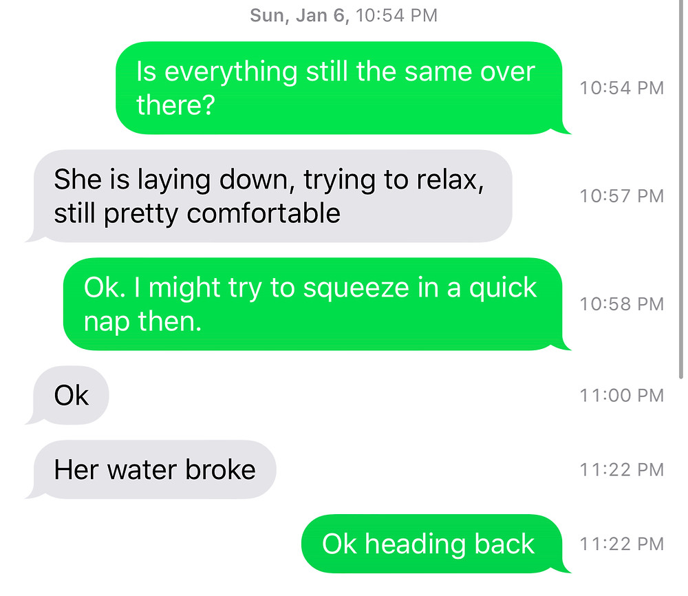 text conversation with dad about water breaking