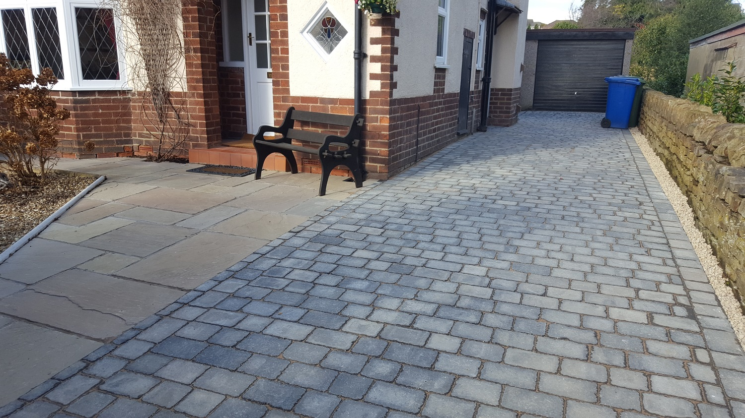 C1 Plaspave Sorrento Granite Stone Block Paving Driveway at Somersall in Chesterfield