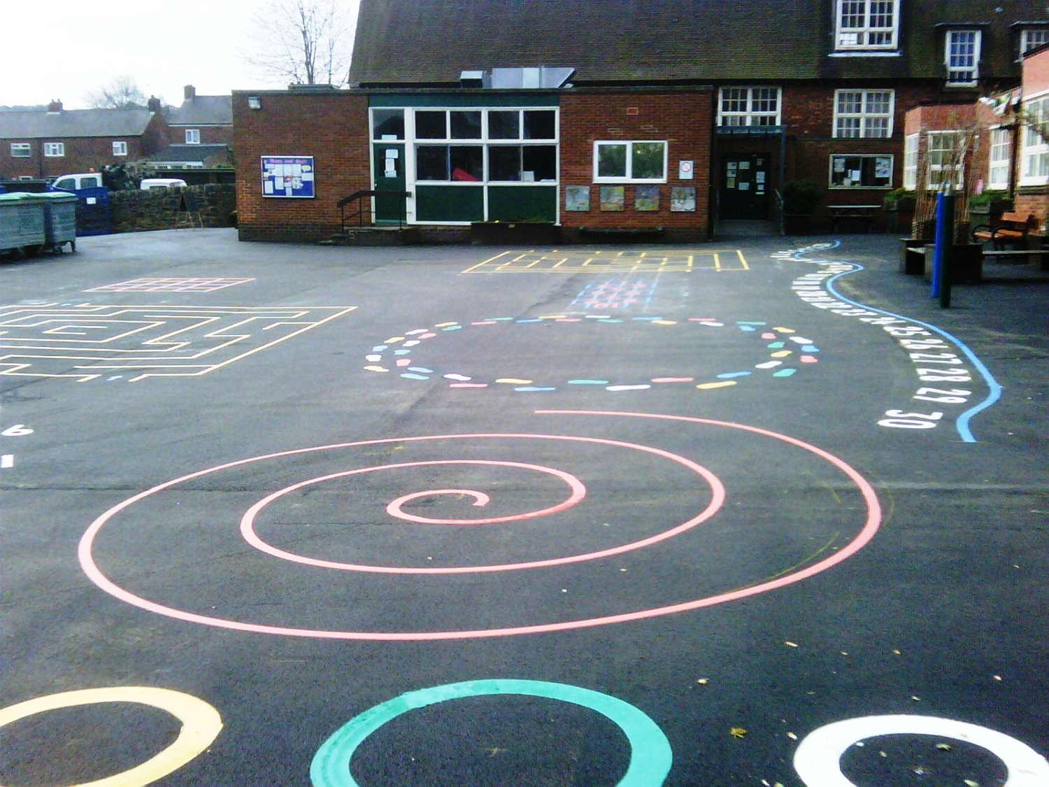 P1 Playground Tarmac Surfacing & Playground Markings at Dronfield Infants School in Dronfield