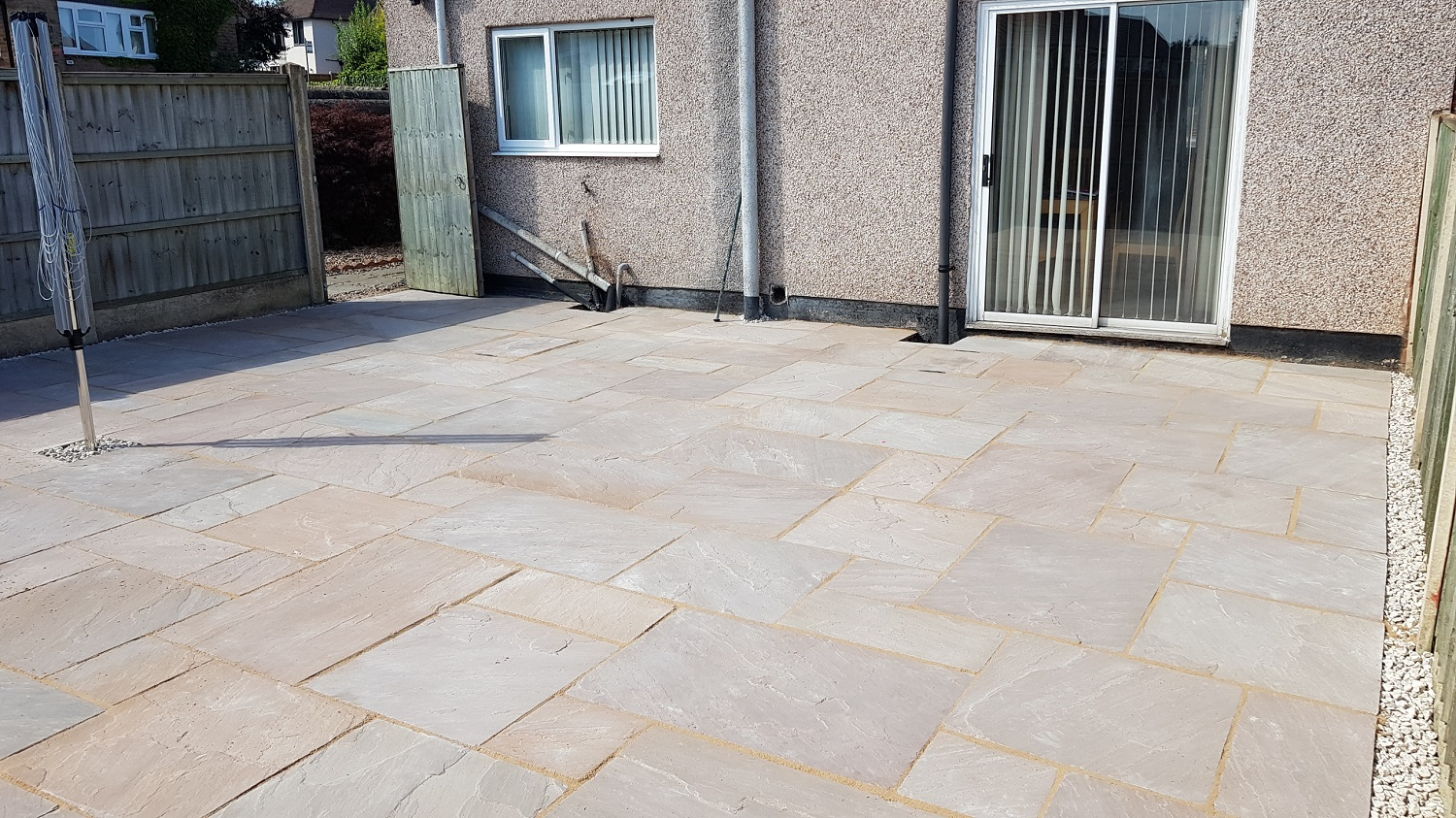 H18 Autumn Brown Indian Sandstone Paving Path at Brookside in Chesterfield