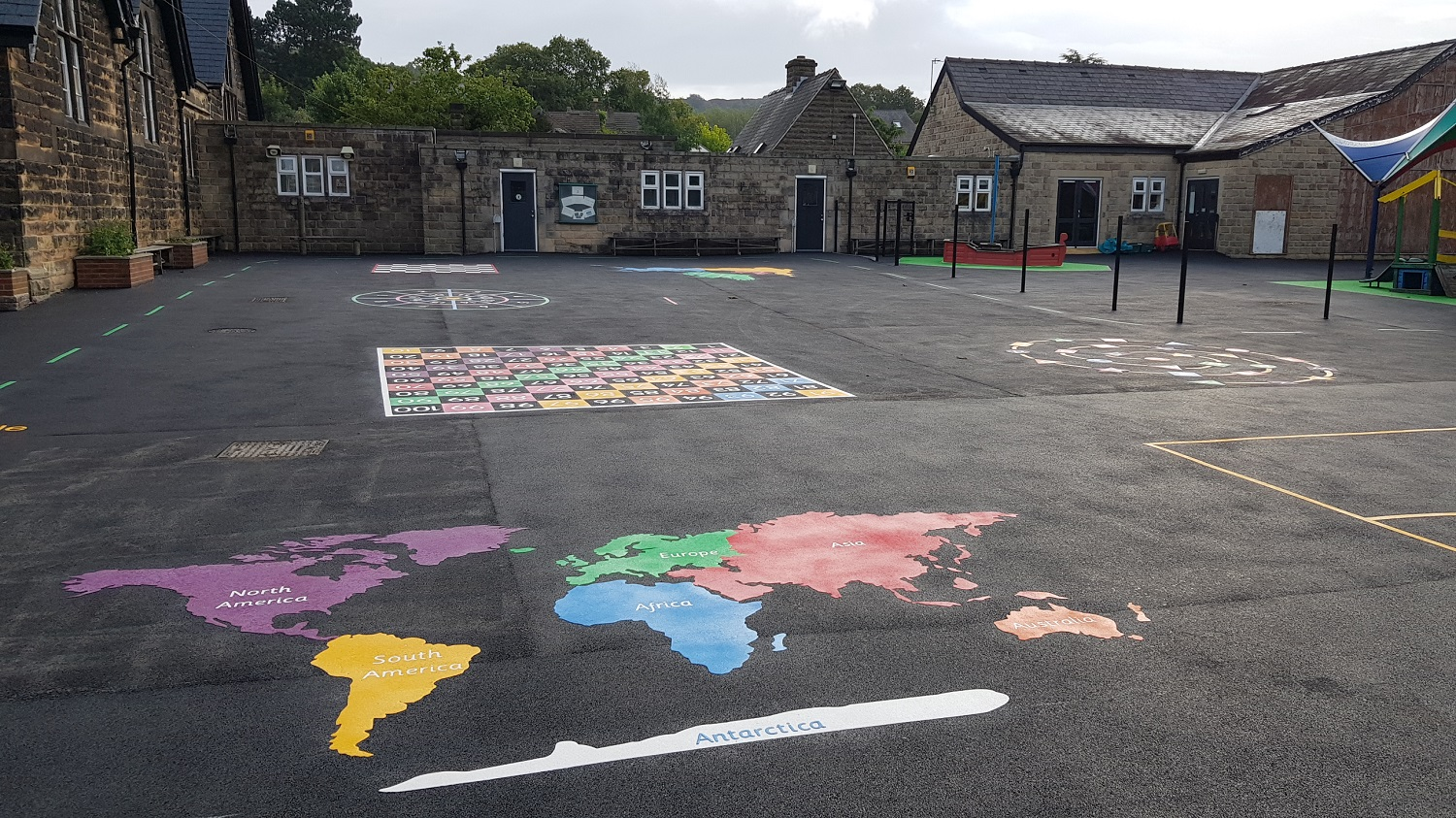 P8 Playground Tarmac Surfacing & Playground Markings at Ashover Primary School in Ashover