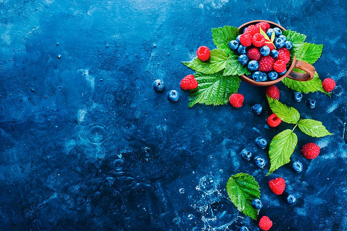 Summer berries header. Raspberry and blu