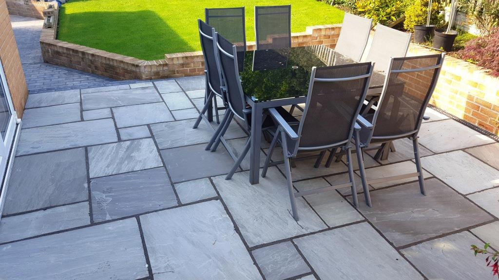 H9 Patio Paving ProjectsPennant Grey Indian Sandstone Paving Patio at Dronfield