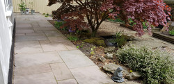 H17 Autumn Brown Indian Sandstone Paving Path at Brookside in Chesterfield