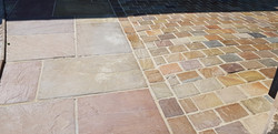 H22 Raj Green Indian Sandstone Cobble Driveway at Walton in Chesterfield