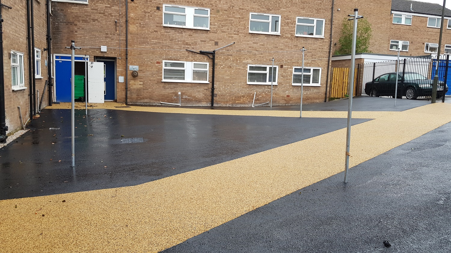 P15 Tarmac and Resin Bound Surfacing to Drying Area at Loundsley Green in Chesterfield