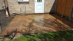 H4 Gold Leaf Indian Sandstone Paving Patio at Linacre Woods in Chesterfield