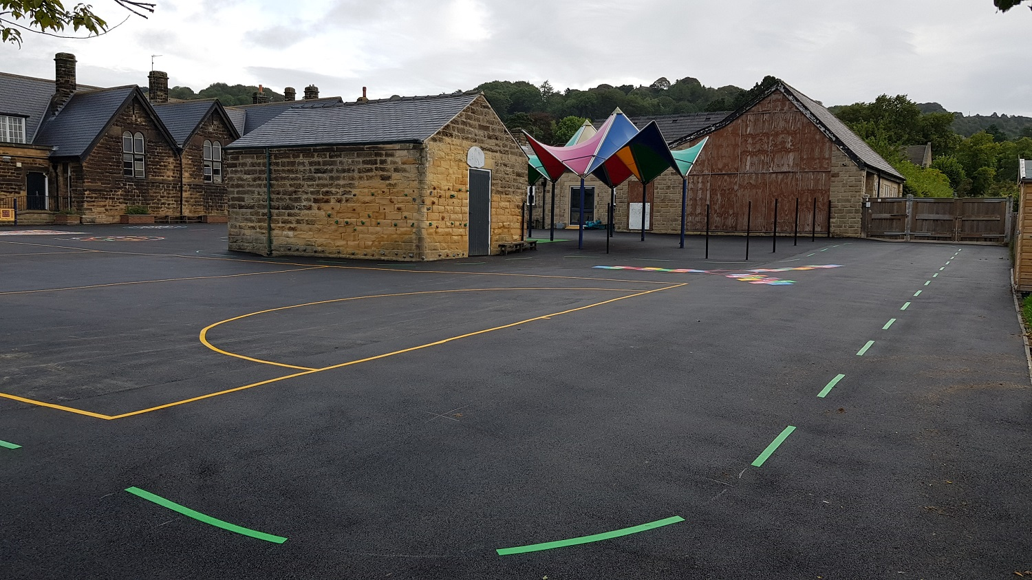 P10 Playground Tarmac Surfacing & Playground Markings at Ashover Primary School in Ashover