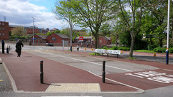 P3 Red Tarmac Footpath Surfacing at Chesterfield Railway Station in Chesterfield