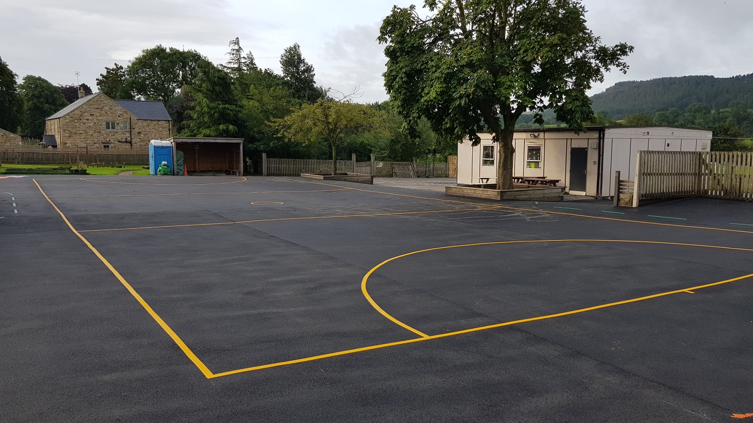 P4 Sports Court Tarmac Surfacing & Sports Court Markings at Ashover Primary School in Ashover