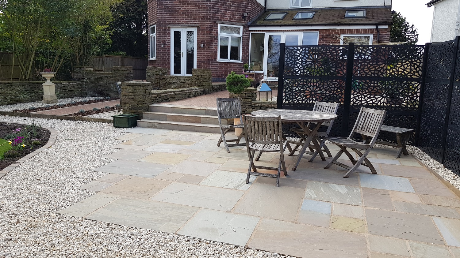 H8 Raj Green Indian Sandstone Paving Patio at Brookside in Chesterfield