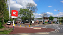 P1 Red Tarmac Footpath Surfacing at Chesterfield Railway Station in Chesterfield