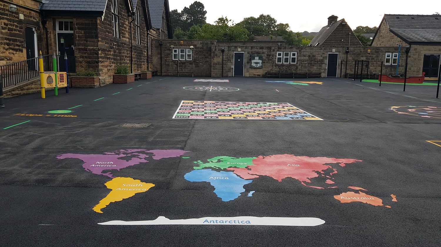 P26 Playground Tarmac Surfacing & Playground Markings at Ashover Primary School in Ashover